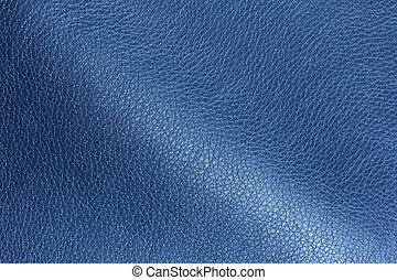 Blue Glossy Artificial Leather Texture - A macro shot of...
