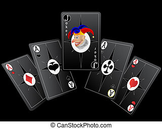 Playing cards for poker with a fine combination in a vector