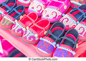 HMONG Handmade Hill Tribe Childrens Shoes