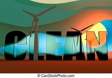 Wind Turbine landscape illustration. Wind energy