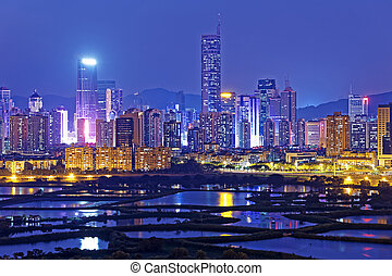 Shenzhen night - Shenzhen citscape at night , view from...