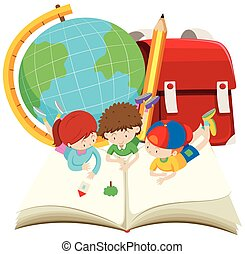 Children reading big book illustration