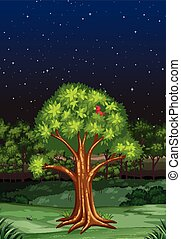 Nature scene at night time illustration