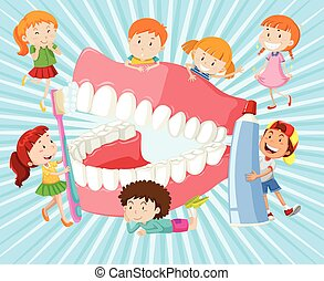 Children with clean teeth