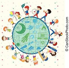 Children love science around the world illustration
