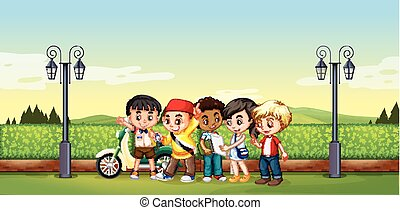 Children standing in the park illustration