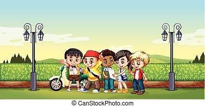 Children standing in the park illustration
