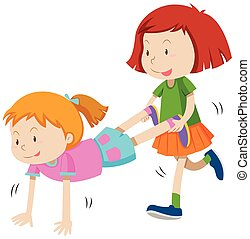 Two girls playing human wheel barrow illustration