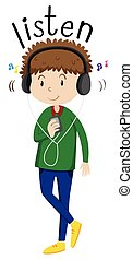 Man listening to music  illustration