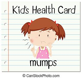 Health flashcard with girl and mumps illustration
