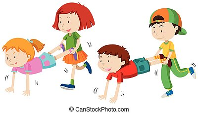 Children playing wheel barrow illustration
