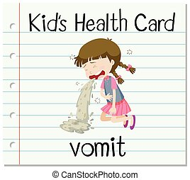 Health card with girl vomitting illustration