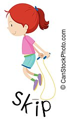 Girl skipping the rope