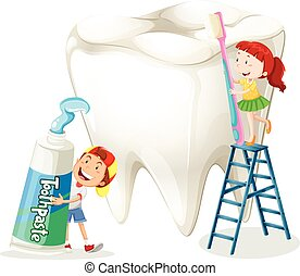 Boy and girl cleaning tooth