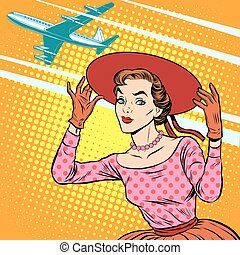 Woman airport journey pop art retro style Tourism and rest...