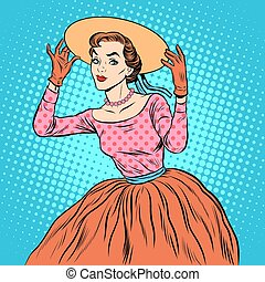 Flirty girl with a fashionable hat pop art retro style...