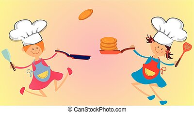 funny cook, -  composition with young cooks to fry pancakes