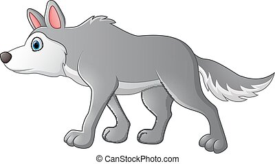 cute cartoon wolf - vector illustration of cute cartoon wolf