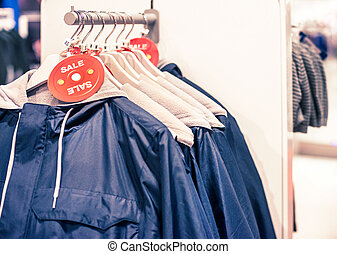 coatrack in clothing store