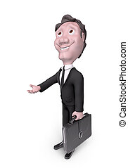 Character businessman asking for help 3d rendering -...