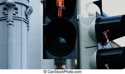 Close-up picture of the traffic light during the day...