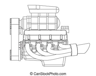 Hot Rod Engine - Schematic drawing of Hot Rod Engine. Vector...