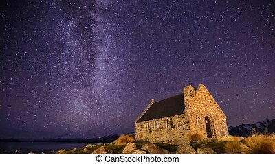 Milky Way Over Church, Zoom Out - Beautiful timelapse scene...