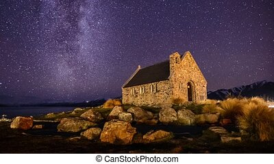 Milky Way Over Church, Zoom In - Beautiful timelapse scene...
