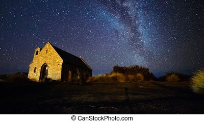 Milky Way Over Church - Beautiful timelapse scene of milky...