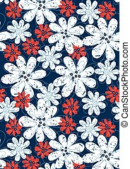 Red and white floral flowers with blue stitching .