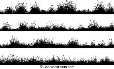 Meadow silhouettes with grass - Set of horizontal banners of...