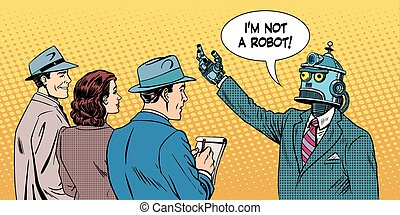 robot presidential candidate gives interview pop art retro...