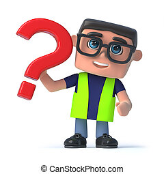 3d Health and safety worker has a question - 3d render of a...