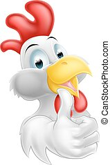 Cartoon Happy Chicken - A cute cartoon chicken mascot giving...