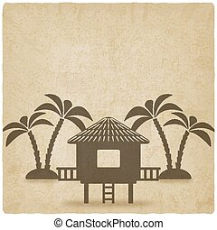 bungalow with palm trees old background. vector illustration...