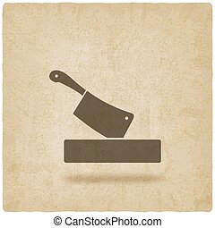 butcher knife in chopping board old background vector...