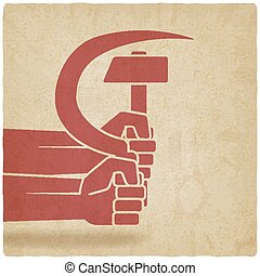 hands with hammer and sickle old background. vector...