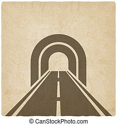 road through tunnel old background - vector illustration....
