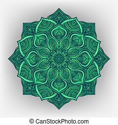 green floral round ornament - vector illustration. eps 8