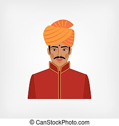 Indian man in traditional clothes vector illustration - eps...