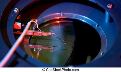 Microelectronic prober equipment in testing work in the...