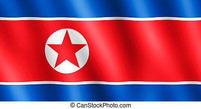 Flag of North Korea waving in the wind giving an undulating...
