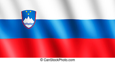 Flag of Slovenia waving in the wind giving an undulating...
