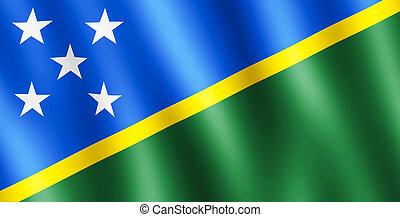 bandiera, di, Solomon, Isole, ondeggiare, in, il, vento,