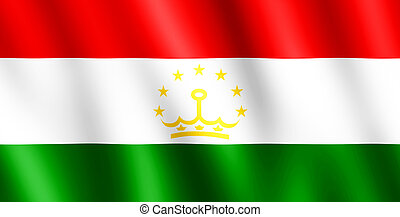 Flag of Tajikistan waving in the wind giving an undulating...