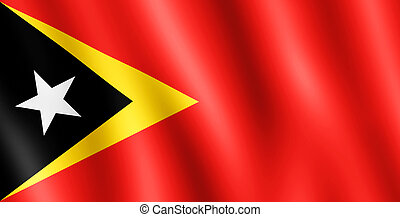 Flag of Timor-Leste waving in the wind giving an undulating...