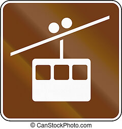 United States MUTCD guide road sign - Overhead Tramway or...