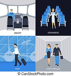 Pilot And Stewardess 4 Flat Icons - Pilot and stewardess in...