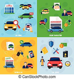 Car Dealership 4 Flat Icons Square - Car showroom with...