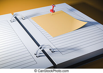 3d agenda with blank sticky note, close up